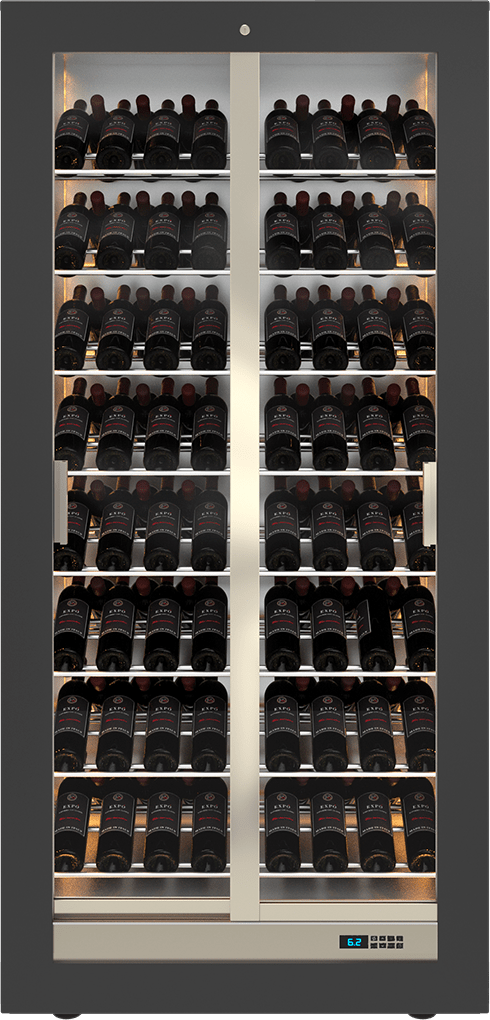 Teca B wine cabinet - custom bottle arrangement